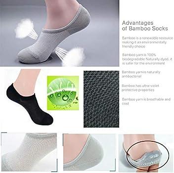 6 X Men Women Bamboo Non-slip Heel Grip Low Cut No Show Socks Footlet Invisible