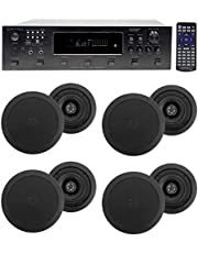 "6000w (6) Zone, Home Theater Bluetooth Receiver+(8) 5.25"" Black Ceiling Speakers"
