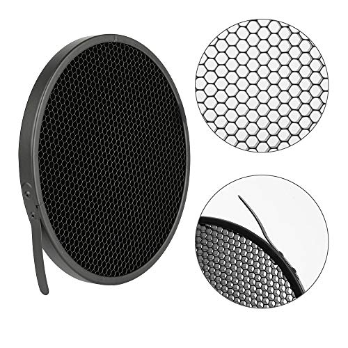 Soonpho 7'' Standard Reflector Diffuser Lamp Shade Dish with 10° /30°/ 50° Degree Honeycomb Grid White Soft Cloth for Bowens Mount Studio Strobe Flash Light Speedlite by soonpho (Image #5)