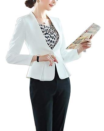 ShiFan Pantalon Y Chaqueta Mujer Elegante Blazer Formal Negocios Oficina Americana Abrigos Entallada
