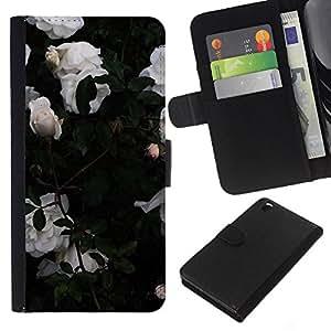 KingStore / Leather Etui en cuir / HTC DESIRE 816 / Rosas de jardín Bush Flores;