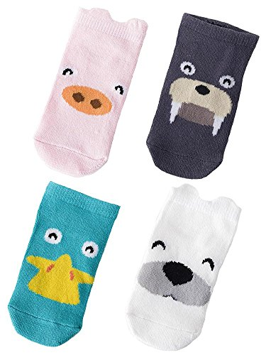 Price comparison product image Beauty Nymph Cute Animal Cotton Soft 3 D Pattern Design Ankle Socks (M(1-3years old), Mixed color(P/S/D/LB))
