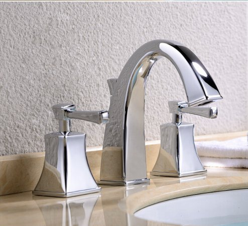 GOWE Widespread Bathroom Basin Vessel Sink Faucet Chrome Brass Basin Mixer Taps Dual Handle 1