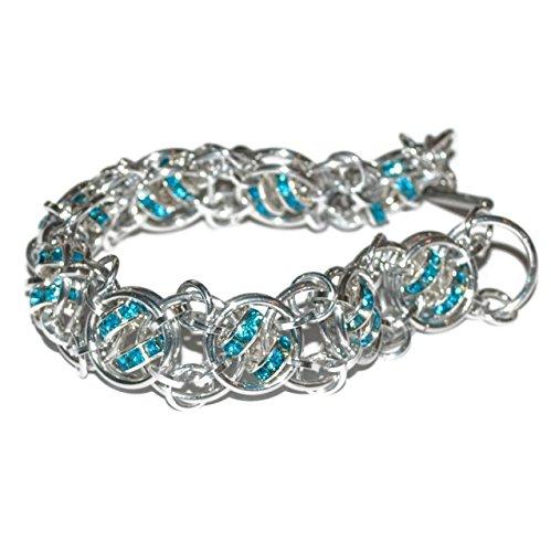 Aqua Crystal Helix Rhinestone Silver-Tone Chainmail Bracelet (Design by Michelle Brennan) - Michelles Designs