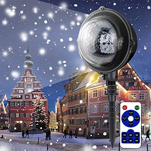 EFGS LED Christmas Projector Light, Snow Falling Night Lights White Snowflake Flurries Rotating Snowfall Spotlight, Outdoor Indoor Landscape Decorative Lighting for Wedding New Year Stage -