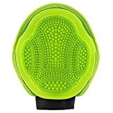 MOSTY Pet Grooming Glove 2-in-1, Grooming Tool + Furniture Pet Hair Remover Mitt Dual Sided Rubber Tips Soft Deshedding Grooming Massage Glove Brush for Big Small Dog Cat with Long Short Hair, Green