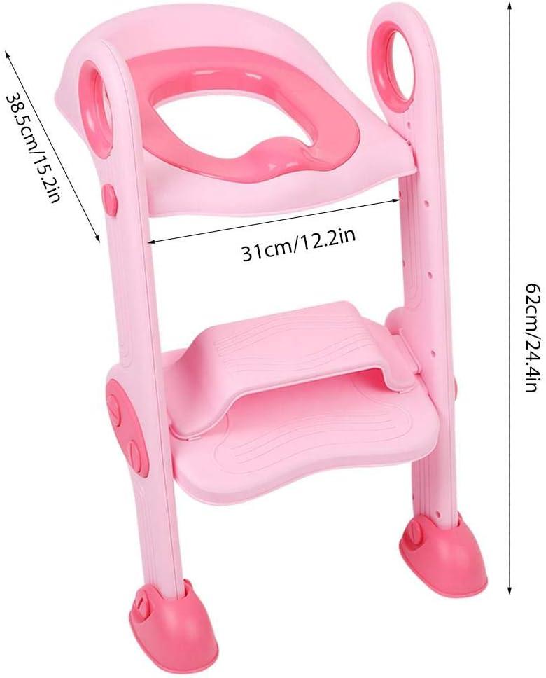 sicher und rutschfest Rose faltbar Toilettentraining Toilettent/öpfchen EBTOOLS Toilettensitz f/ür Kleinkinder mit Tritthocker Leiter Baby Training