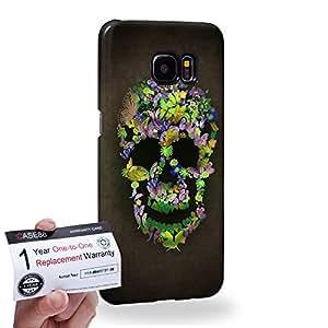 Case88 [Samsung Galaxy S7 Edge] 3D impresa Carcasa/Funda dura para & Tarjeta de garantía - Art Blooming Skulls Green