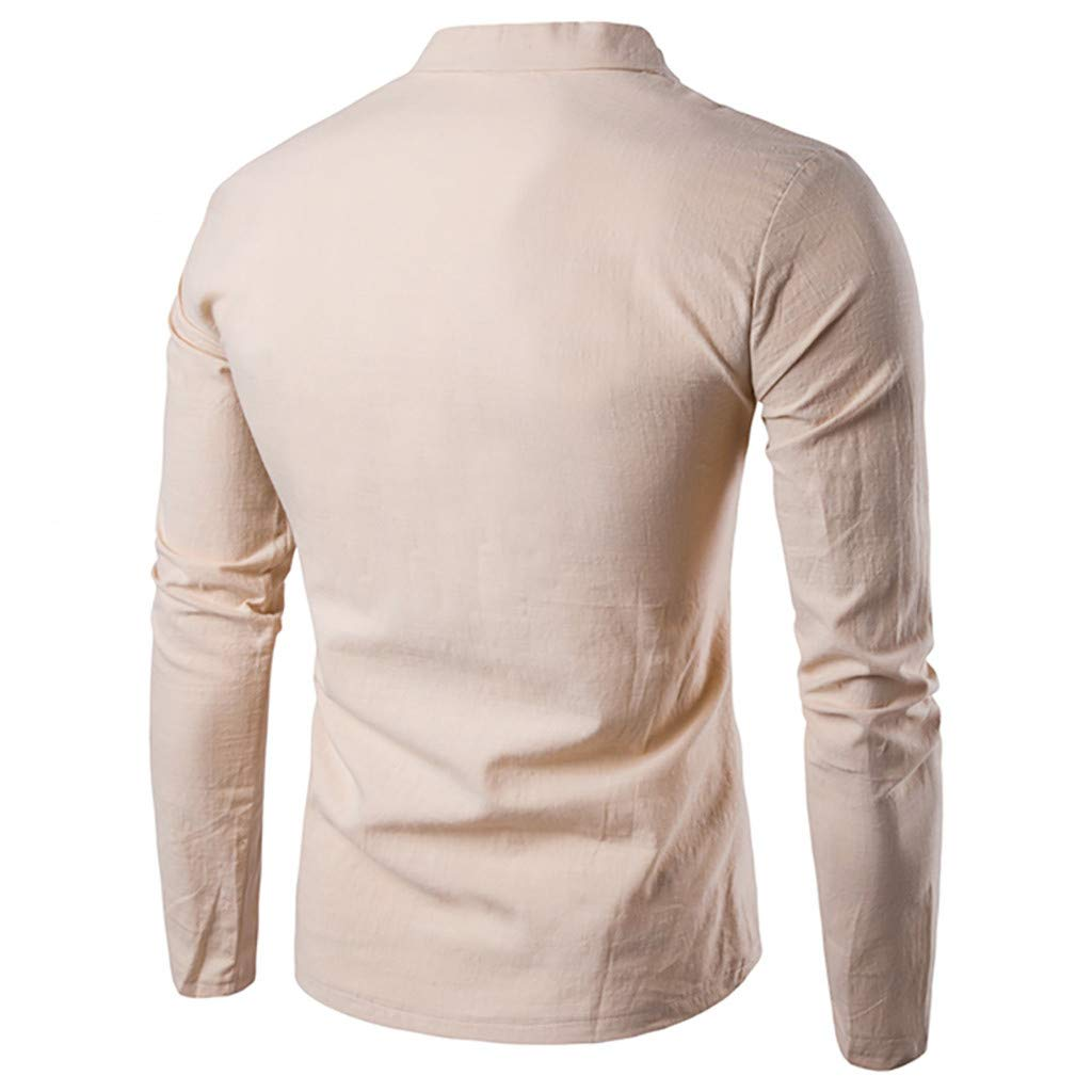 Yutao Mens Casual Slim Fit Long Sleeve Henley T Shirts of Waffle Cotton