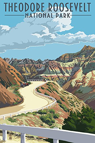 Theodore Roosevelt National Park, North Dakota - Road Scene (12x18 Fine Art Print, Home Wall Decor Artwork Poster) ()