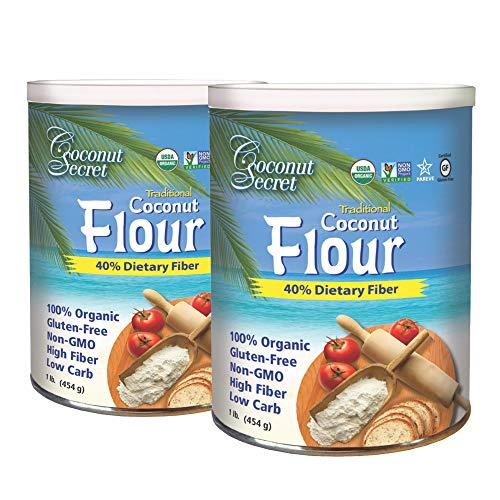 Coconut Secret Raw Coconut Flour (2 Pack) - 1 lb - High Fiber, Unheated, Unbleached, Unrefined Grain Flour Alternative - Organic, Vegan, Non-GMO, Gluten-Free, Kosher - 64 Total Servings