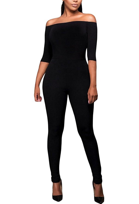 Wearlove Women Short Sleeve Strapless Bodycon Long Pants Club Jumpsuit Romper