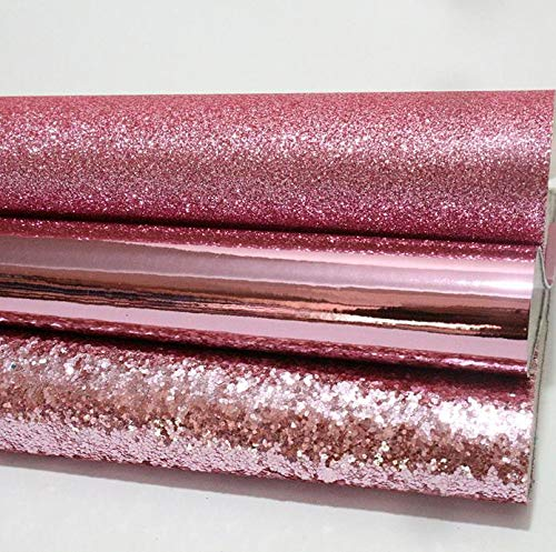 3 Pcs 8x13 Inch Colorful Faux Leather Fabric Synthetic Leather Sheets-Glitter Leather Sheets-Synthetic Leather Fabric for Wallpaper Coverings-Synthetic Leather Fabric for Bows Hair DIY (Pink)