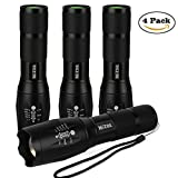 MIZOO Flashlight LED Torch Adjustable Super Bright Aluminium Alloy Waterproof Lighting with Nylon Case (4-Pack)