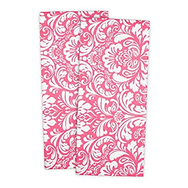 DII 100% Cotton, Everyday Basic Kitchen Dishtowel, Tea Towel, Drying, Damask Printed, 18 x 28  Set of 2- Pink