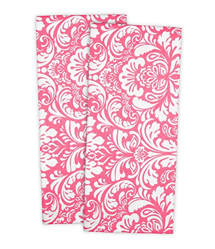 "DII Cotton Damask Kitchen Dish Towels, 28 x 18"" Set of 2, Low Lint Decorative Tea Towel for Everyday Cooking and Baking-Pink"
