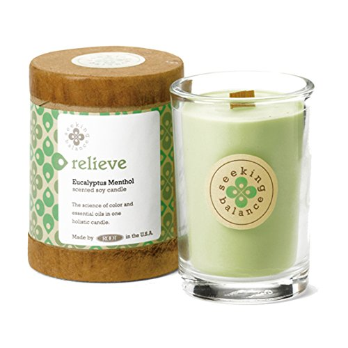 Root Candles Seeking Balance Small Spa Candle, 6.5-Ounce, Relieve: Eucalyptus Menthol ()
