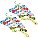 SUNONE11 Random 12PCS Cartoon Animal Wooden Hook Hanger Rack Hanging the little's Coats Bags Toys for Children's Clothes Hangers,11x0.27x4.72 in