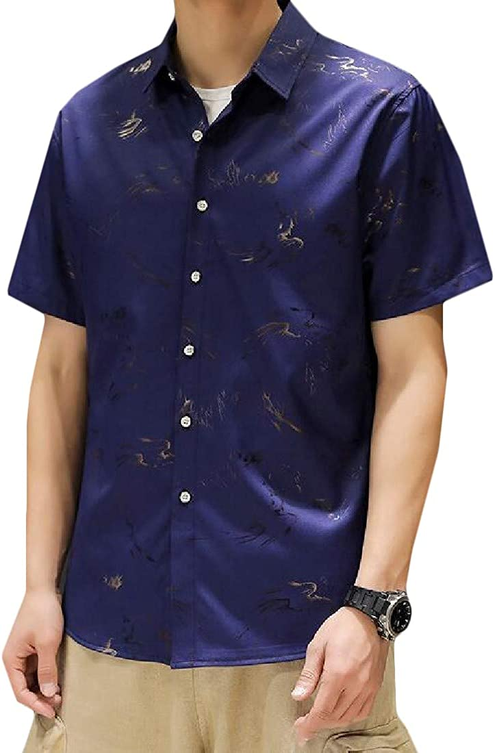 Sweatwater Mens Big /& Tall Casual Printed Button Down Short Sleeve Gold Shirts