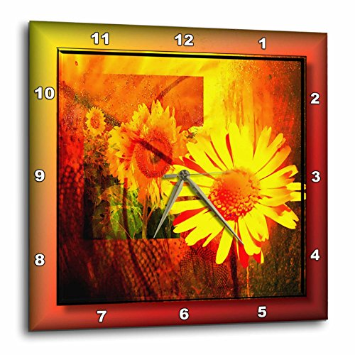 3dRose dpp_24156_3 Line of Sunflowers Wall Clock, 15 by 15-Inch