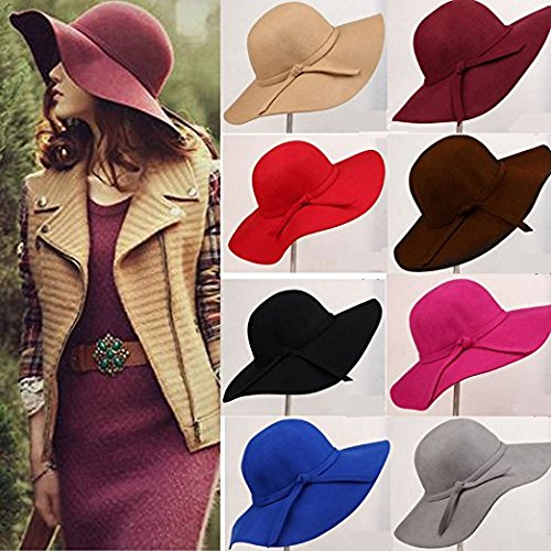 AStorePlus Classic Vintage Women Wool Wide Brim Hat Elegant Ladies ... 527d092ec6f8