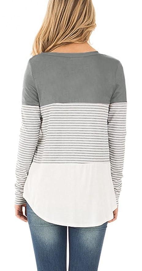 Amazon.com: Klousilover – Bloque de color para mujer, manga ...