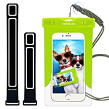 Waterproof Case: MOSSLIAN Universal Waterproof Case Bag Pouch with Armband for iPhone 6S/6/6 Plus/5S/5C/4S, Samsung Galaxy Note 5/4/3, HUAWEI Mate 9/P9 upto 6 inch(green)