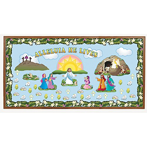 Fun Express - Bulletin Board Set - he Lives for Easter - Educational - Classroom Decorations - Bulletin Board Decor - Easter - 189 Pieces -