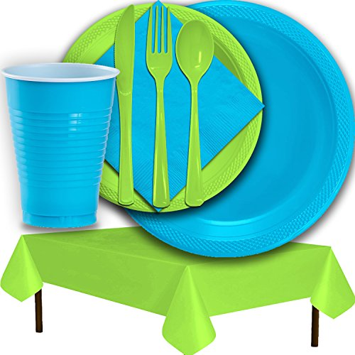 Plastic Party Supplies for 50 Guests - Aqua and Lime Green - Dinner Plates, Dessert Plates, Cups, Lunch Napkins, Cutlery, and Tablecloths - Premium Quality Tableware Set