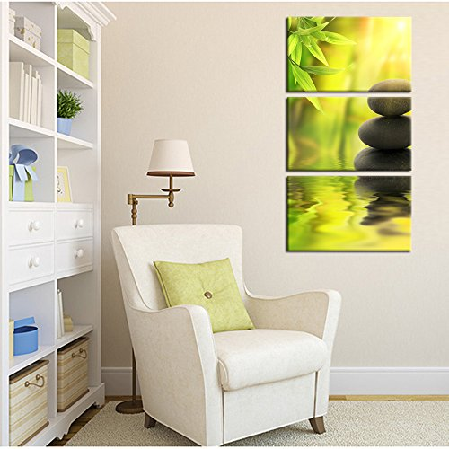 Kreative Arts - Zen Stone Canvas Wall Art Spa Still Life With Green Bamboo Painting Pictures in Garden 3 Panel Vertical Giclee Art Work Contemporary for Home Decoration 12x20inchx3pcs by Kreative Arts (Image #1)