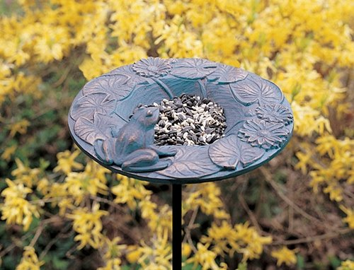 Whitehall Products Frog Garden Bird Feeder, Copper Verdi