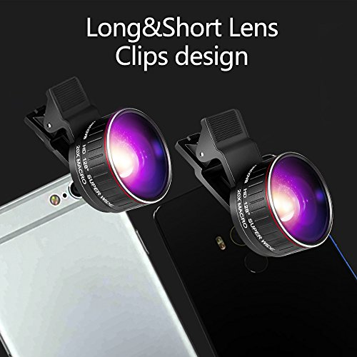 Crenova Phone Camera Lens Kit, 0.45x Wide Angle Lens, HD 128° Super Wide Angle 20X Macro Lens, Clips-On Cell Phone Lens for iPhone/Samsung/Android/Most Smartphones and Tablets by Crenova (Image #1)