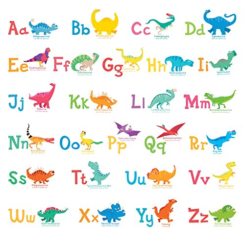 Decowall DW-1803 A-Z Dinosaur Alphabet Wall Stickers Wall Decals Peel and Stick Removable Wall Stickers for Kids Nursery Bedroom Living Room