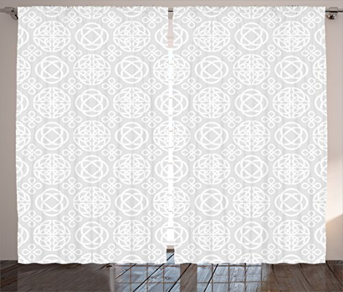 Ambesonne Celtic Curtains, Retro Tribal Celtic Knots Eternity Forms Pattern Boho Ireland Irish Floral Artwork, Living Room Bedroom Window Drapes 2 Panel Set, 108 W X 84 L Inches, White (Knot Curtains Top)