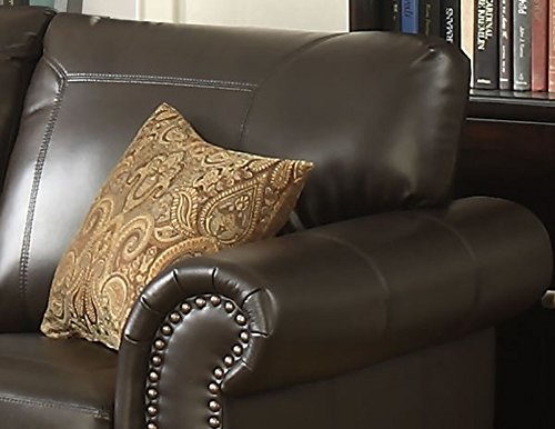 AC Pacific Louis Collection Traditional Upholstered Leather Loveseat with Antique Brass Nail Head Trim and 2 Accent Pillows, Brown