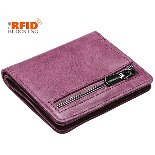 JSLOVE Rfid Blocking Small Compact Bi-fold Leather Pocket Wallet for Women(amethys)