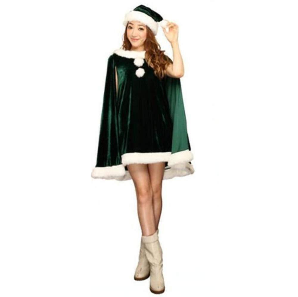 912ac4e78efeb Yunfeng Costume de père noël pour Femme Robe de Noël Vert Femme Adulte Noël  Robe DS Performance Robe Rouge de père Noël ELF Costume de déguisement  Adulte ...