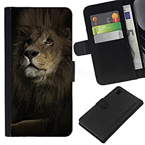 Sony Xperia Z1 L39 C6902 C6903 C6906 C6916 C6943 , la tarjeta de Crédito Slots PU Funda de cuero Monedero caso cubierta de piel ( Lion Mane Powerful King Animal Black)