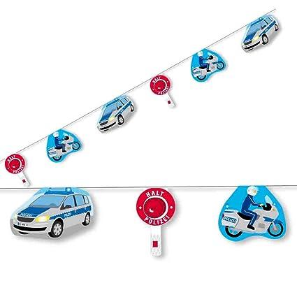 3,5m Wimpelkette * POLIZEI * mit 10 Wimpeln für Kinderparty und Kindergeburtstag von DH-Konzept // Polizeiauto Polizist Deko