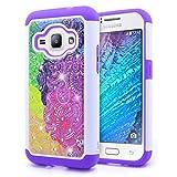 Galaxy J5 2016 Case, NageBee [Hybrid Protective] Armor Soft Silicone Cover with [Studded Rhinestone Bling] Design Diamond Hard Case for Samsung Galaxy J5 J510 2016 - Rainbow Illusion