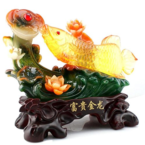 GL&G Lucky fish mascot Decorations living room office Tabletop Scenes Ornaments Crafts Keepsakes European High-end Business gift,391931CM by GAOLIGUO