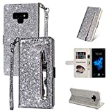 ZCDAYE Galaxy S7 Edge Wallet Case,Bling Glitter Sparkly Zipper PU Leather Magnetic Flip Folio Card Pockets Holder with Wrist Strap Stand Protective Case Cover for Samsung Galaxy S7 Edge - Silver
