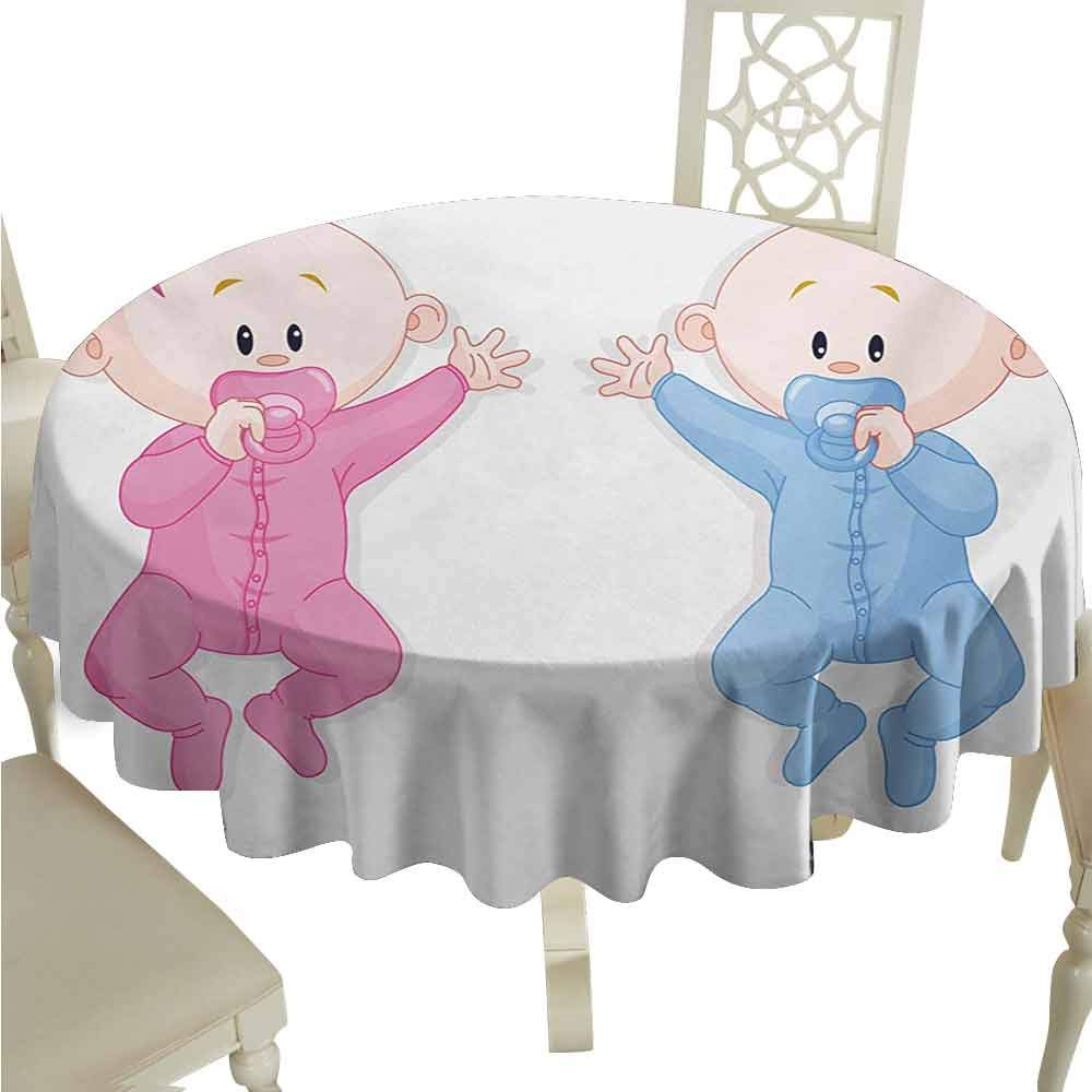 duommhome Gender Reveal Durable Tablecloth Babies Lie and Keep The Pacifiers Lovely Toddlers Sweet Childhood Easy Care D71 Pink Blue and Peach by duommhome