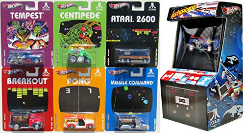 Atari Hot Wheels Comicon Exclusive Asteroids Beach Bomb Pickup SDCC with Breakout - Pong - Missile Command - Centipede - Tempest & 2600 Console GMC Motorhome Nostalgia video Game 7 Car Set by Hot Wheels
