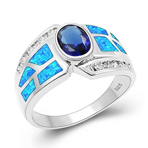 Sinlifu Silver Plated Simulated Blue Opal Inlay Oval Topaz Sapphire Tanzanite Ring - Fire Opal Ring Tanzanite