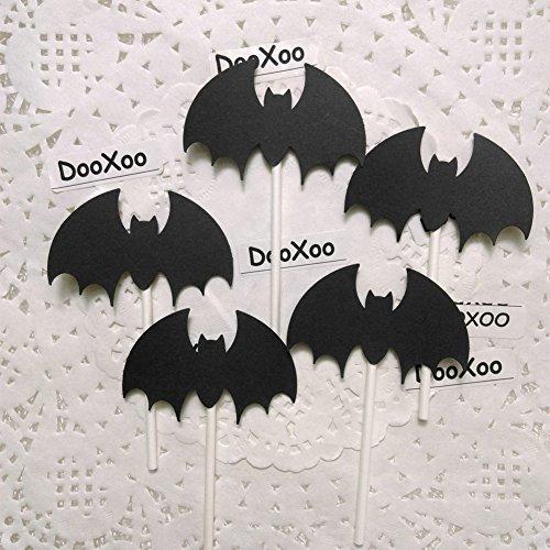DOOXOO Halloween Bat Cupcake Toppers Black Bat Halloween Party Favors Halloween Party Cupcake Toppers Halloween Bat Party Picks (Set of (Classroom Halloween Games)