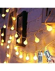 Augone Lichtsnoer met 120 ronde ledlampjes, 12 m lang, met stekker, 8 modi en geheugenfunctie, voor binnen en buiten; ideaal als feestdecoratie, voor kinderkamer of balkon, kerstverlichting, enzovoort; warmwit