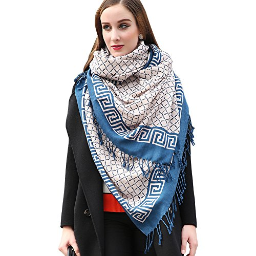 DANA XU 100% Pure Wool Women Winter Large Size Pashmina Travel Shawl (Grey&Blue)
