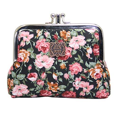 Lavogel Women's Cute Floral Buckle Coin Purses Retro Change Purse Wallets Credit Cards Pouch (LA11) ()