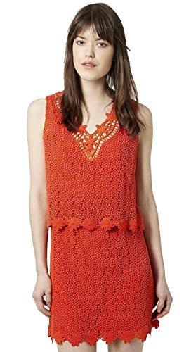 Topshop Mujer Naranja Sin Mangas Capa De Ganchillo Vestido Talla 6-14 - Naranja,
